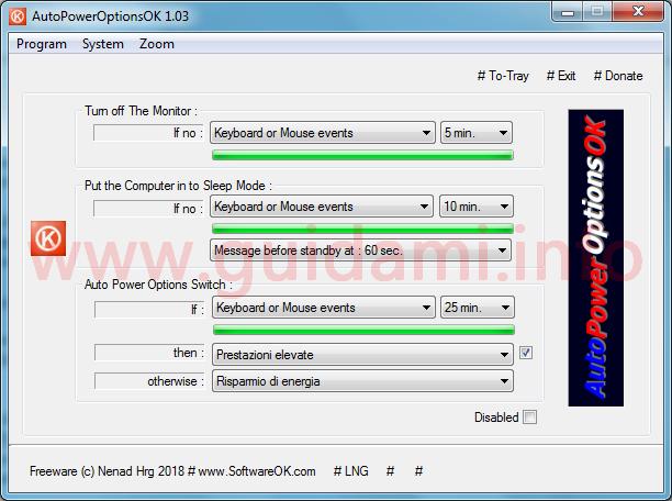 AutoPowerOptionsOK interfaccia grafica