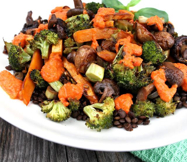 Oppskrift Ovnsbakte grønnsaker Puylinser Facon Sopp Marinert Vegetarmiddag Linser Hjemmelaget Paprikadressing
