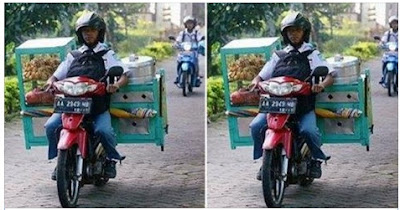 Salut Banget, Siswa Ini Sekolah Sambil Jual Makanan yang Diangkut Dengan Motornya