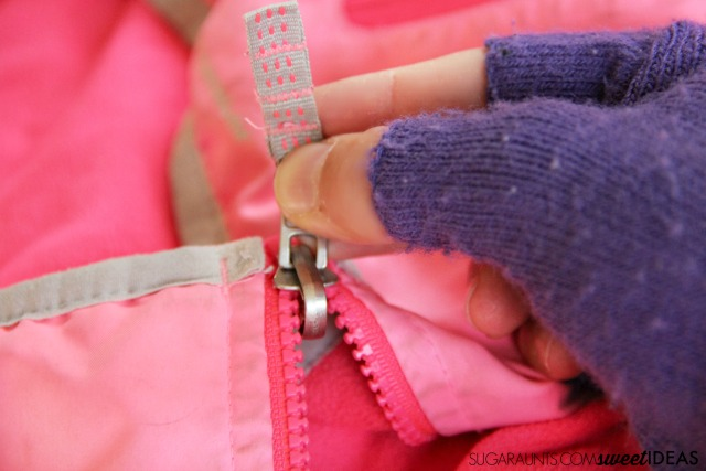 Clothing fasteners and sensory processing issues using fingerless gloves