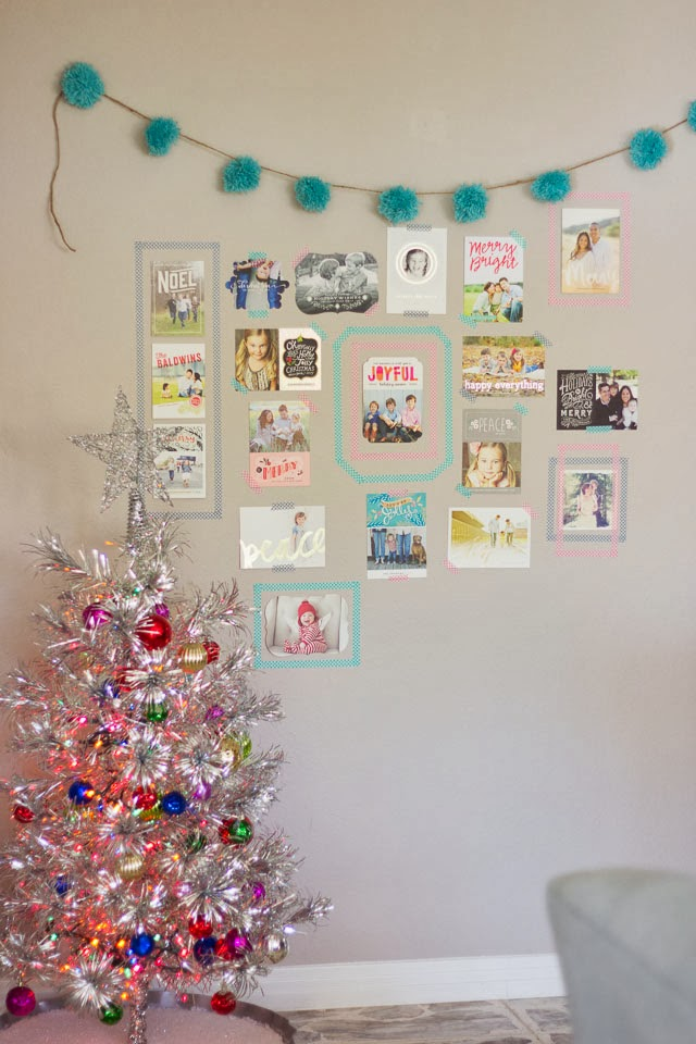 Taping Christmas Lights To Wall : DIY Washi Tape Holiday Card Display Design Improvised