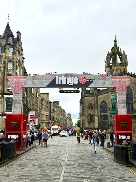 Edinburgh's Royal Mile with the Fringe Festival banners up in August 2018