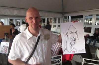 karikatuur tekening van kale man live
