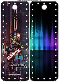 Marcapáginas para Fiesta de Pixel Gum 3D, Roblox y Minecraft para Imprimir Gratis.