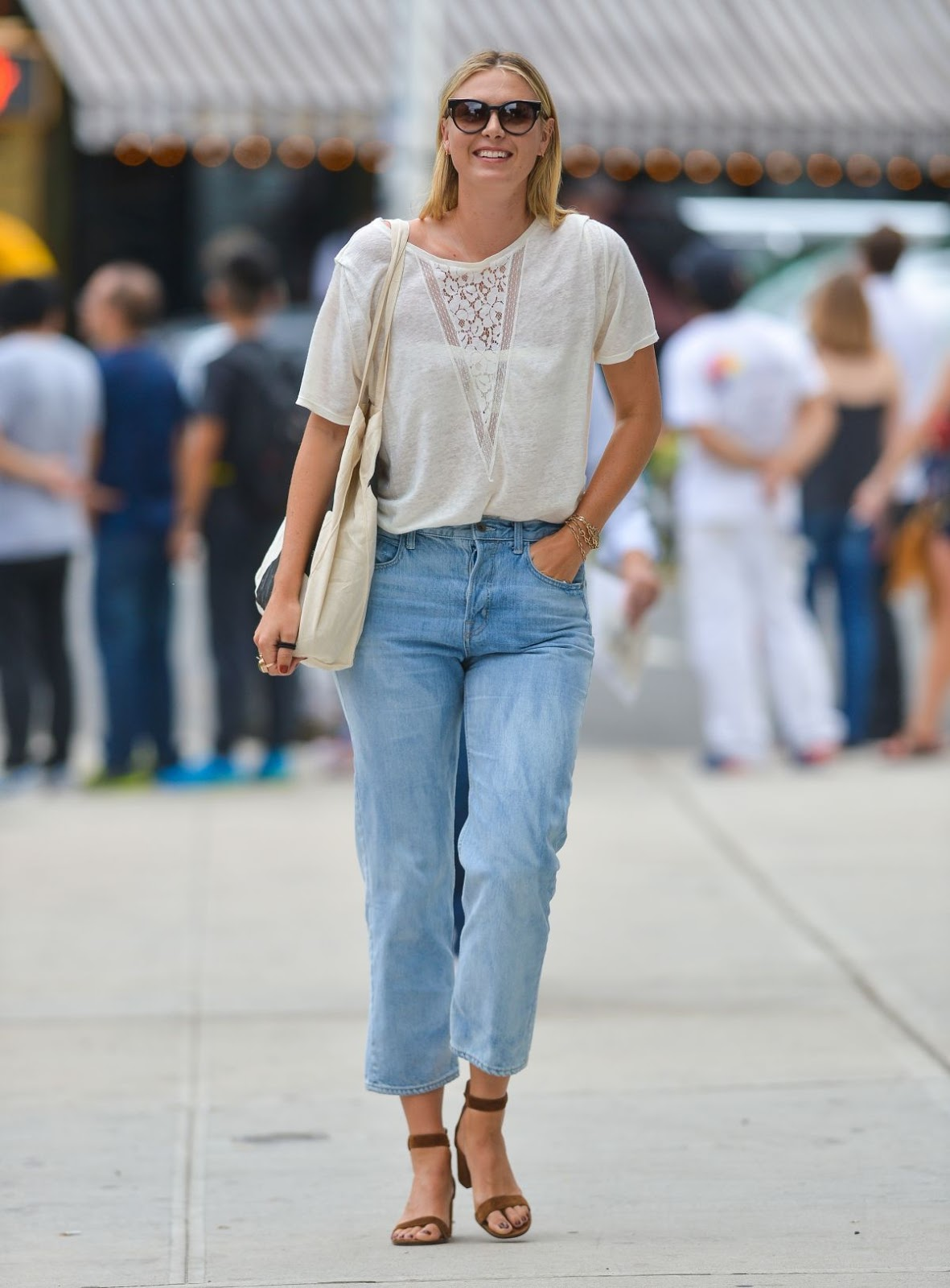 Maria Sharapova in Casual Dress Out And About In New York