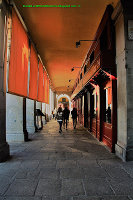Shopping Arcade, Plaza Mayor, Madrid, Spain