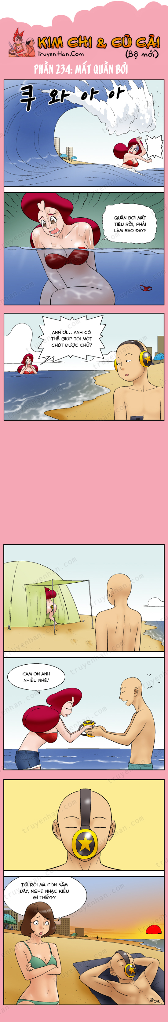 Kim Chi & Củ Cải (bộ mới) phần 234: Mất quần bơi
