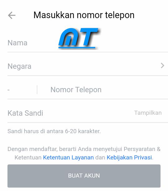 Daftar Menggunakan Nomor Telepon