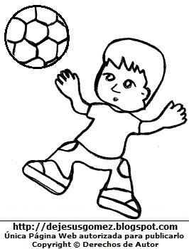 Niño jugando con pelota de fútbol para colorear, pintar e imprimir. Dibujo de niño jugando de Jesus Gómez