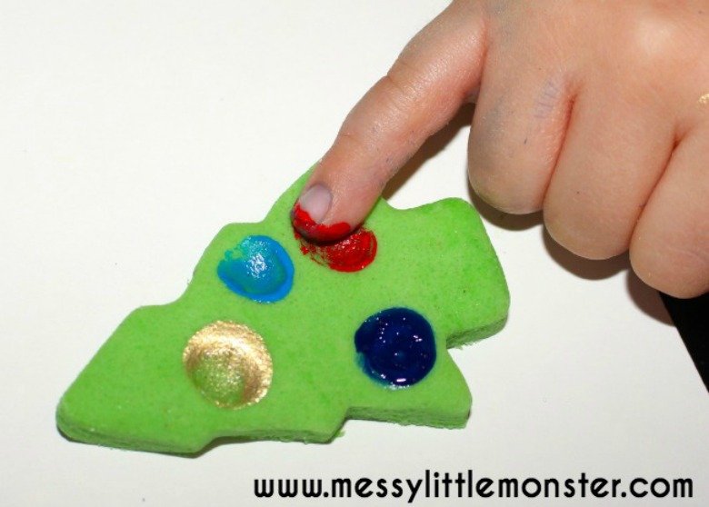 Christmas tree crafts for kids - fingerprint salt dough ornaments