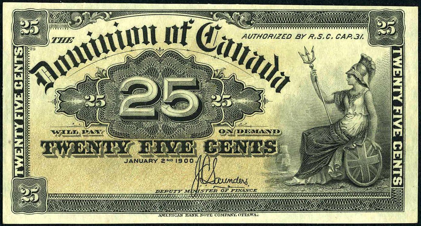 Dominion Of Canada 25 Cents Banknote 1900 Britannia