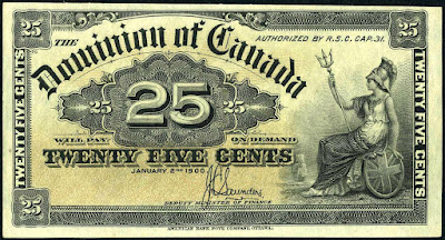 Dominion of Canada 25 Cents Banknote 1900