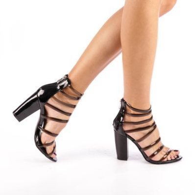 Sandale dama cu toc gros elegante de ocazii negre