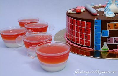 vasitos de panna cotta, cuajada y gelatina