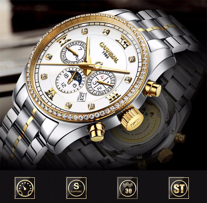 đồng hồ cơ Carnival có chức năng Triple Calendar