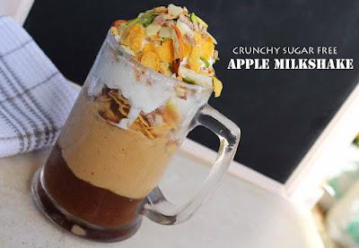 apple milkshake recipe sugar free milkshake crunchy milkshake healthy milkshake ramadan drinks welcome drinks
