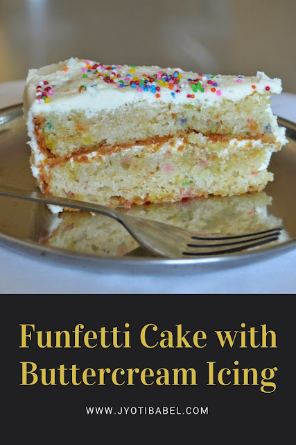 This funfetti cake is a simple eggless vanilla cake embellished with cute and colourful funfetti and made indulgent by a layer of buttercream icing.