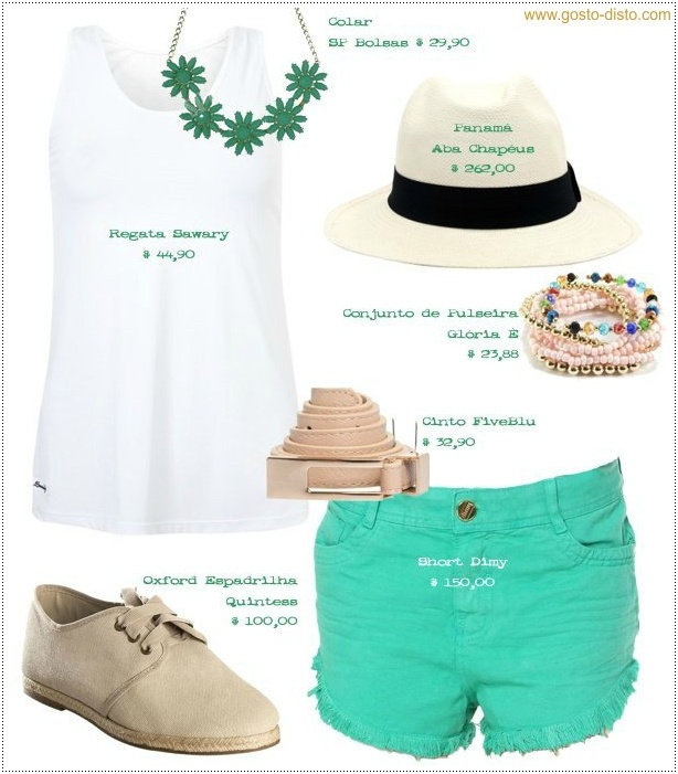 Look Camiseta regata branca com short