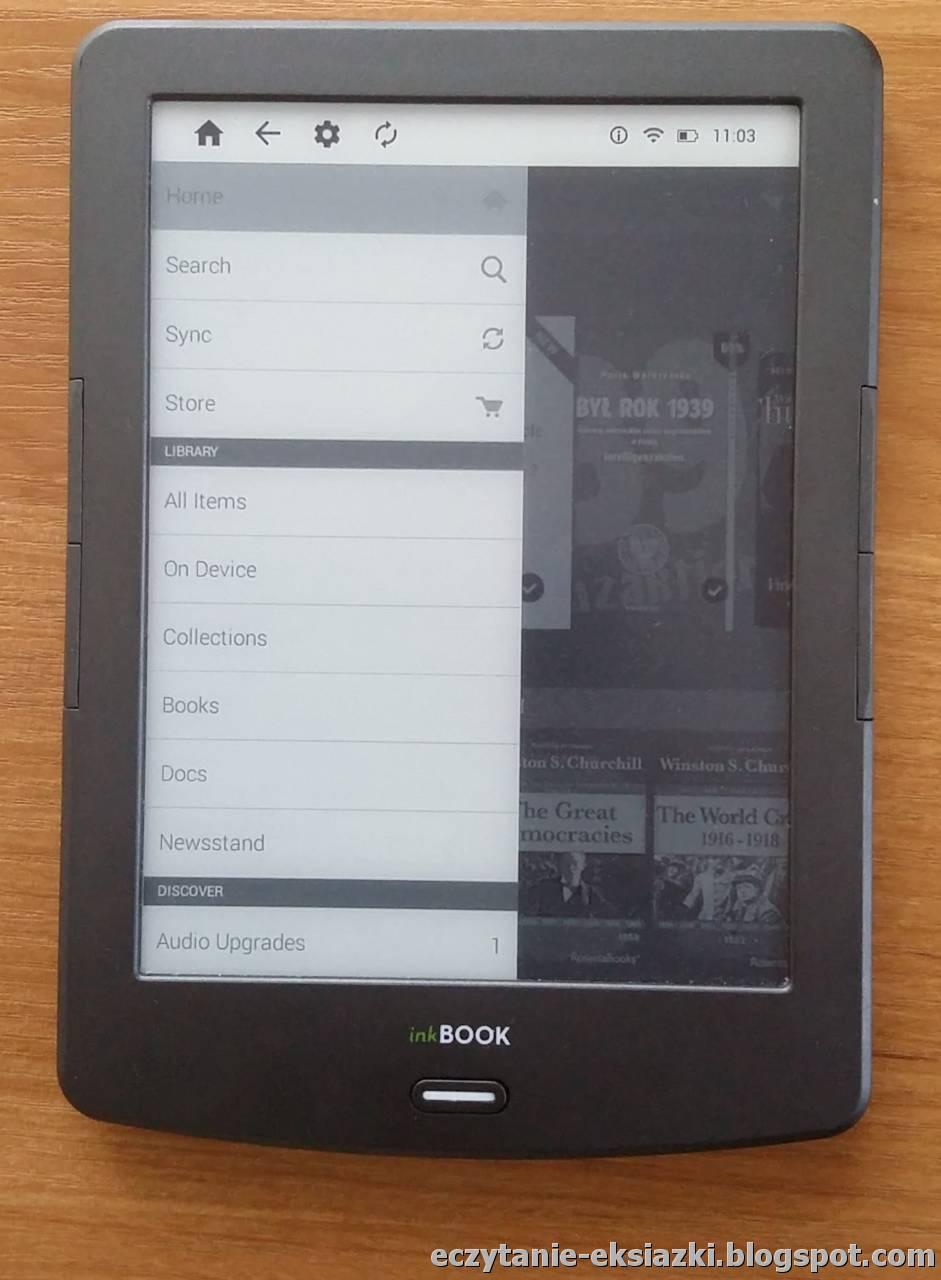 Boczne menu ekranu głównego aplikacji Kindle na InkBOOK Classic 2