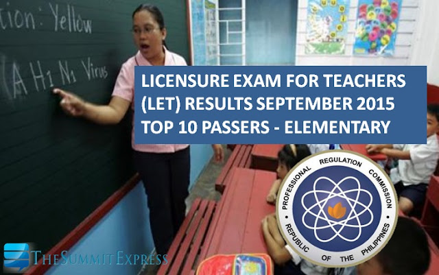 Top 10 Passers September 2015 LET Teachers board exam