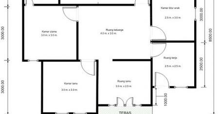 denah rumah ukuran 9x12 4 kamar - berbagai ukuran