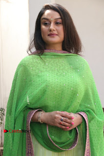 Actress Sonia Agarwal Stills in Green Anarkali Dress at Agalya Tamil Movie Launch  0011.jpg