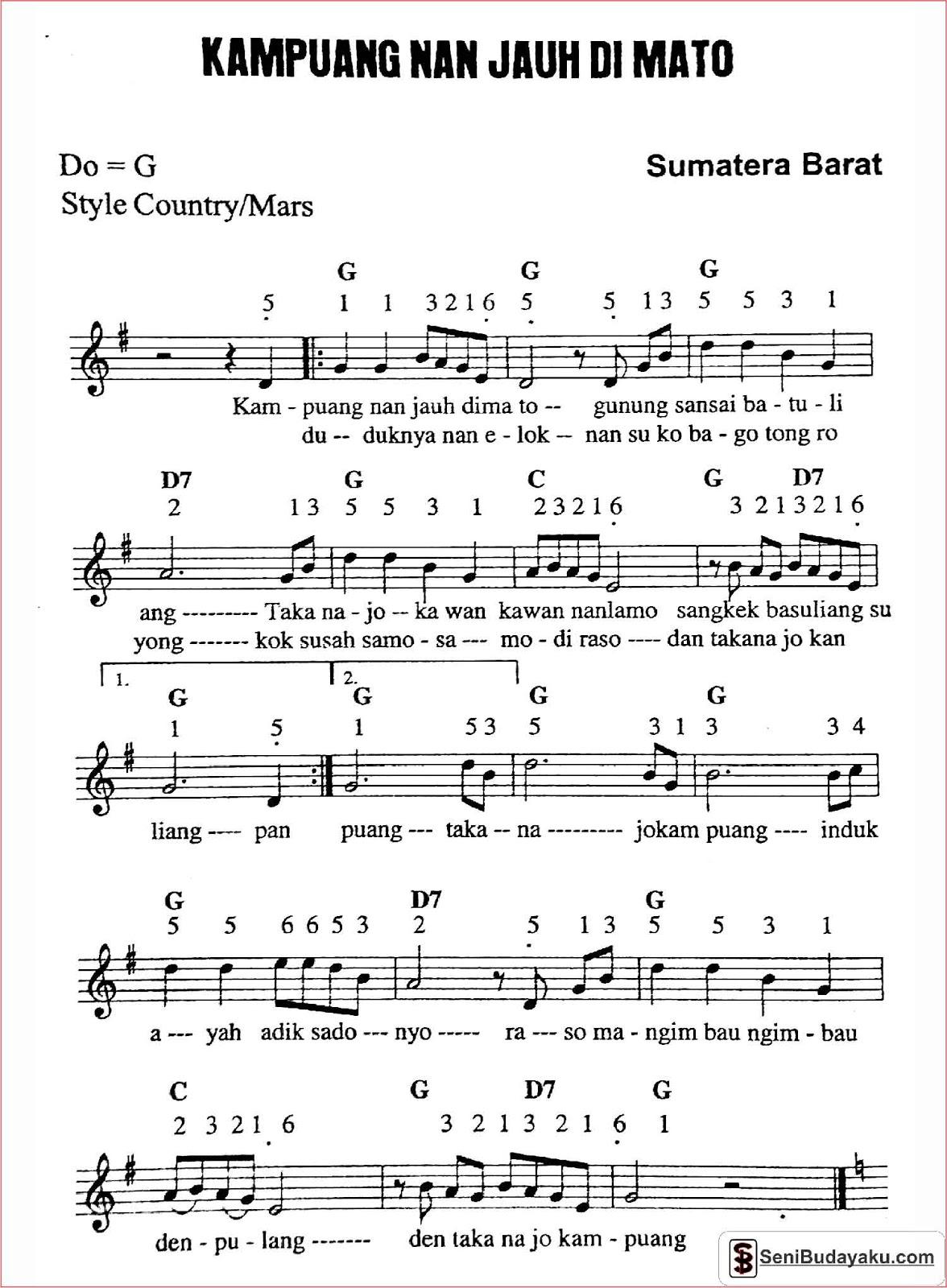 Not Angka Dan Lirik Lagu Kampuang Nan Jauh Di Mato Beserta Chord Dan Artinya Seni Budayaku