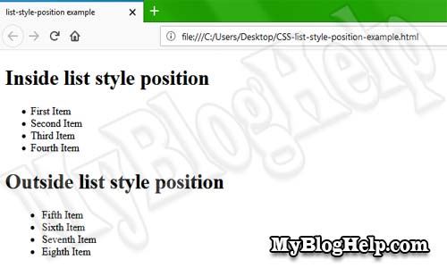 CSS list style position