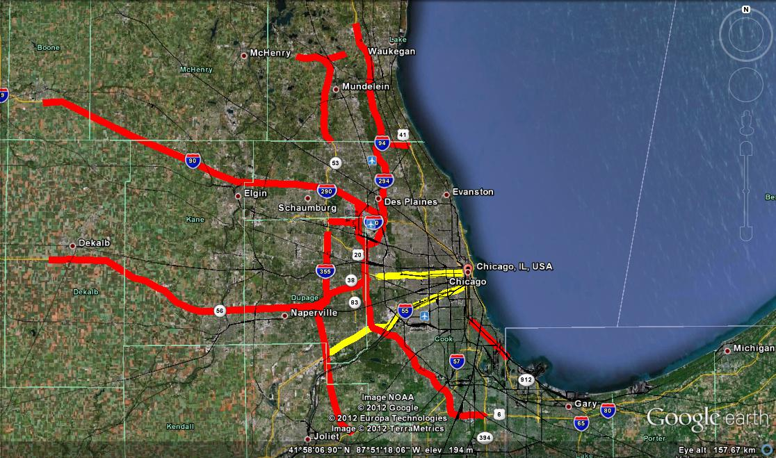 Toll Roads In Chicago Map.Road Pricing Chicago Congestion Pricing Proposal Involves Hot Lanes