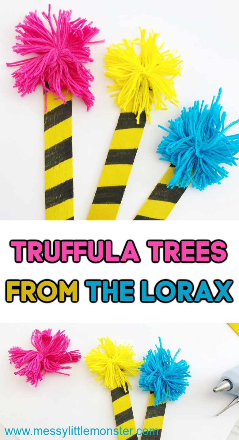Dr Seuss Crafts. The Lorax truffula tree craft for kids. Dr Seuss day activity ideas.