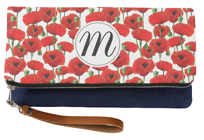 Red Poppy Pattern Custom Monogram Clutch Zazzle