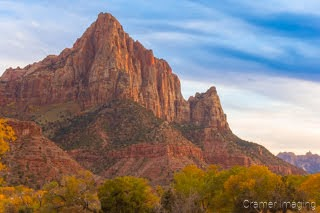Cramer Imaging's fine art landscape photograph of the mountain at Zion's National Park, Utah in the autumn or fall