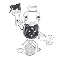 A line drawing of the Maker Faire mascot - a character the shapeof an upside down screw. The bolt on the screw is the head which has a smiling face. A washer underneath the bolt makes up the bottom jaw of the smile. The body is a hexagonal bolt in dark colours with the southern cross constellation emblazoned on it. The left forearm and hand is a spanner; the right forearm and hand is holding up a paint brush dripping with paint.  The legs together make a u-shape, ending with bolts. The bolts have a thin screw passing through them which acts like a spindle for a ball of yarn which, presumably, could be spooled from beneath the u-shaped legs.  The body is a