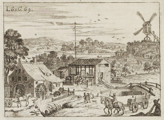 rural scene with water-wheel, windmill & roadway 17th century