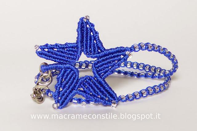 MACRAME MARGARETENSPITZE stella blu bracciale