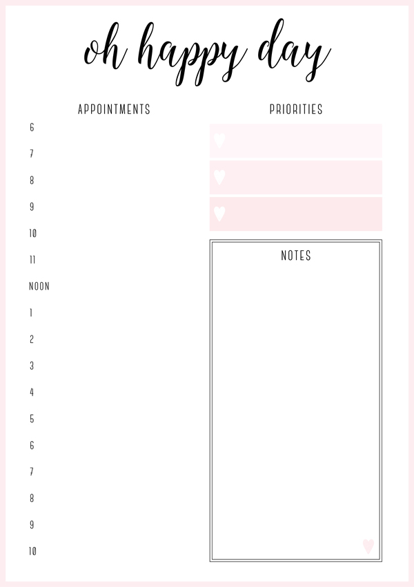 Oh Happy Day Planner from Free Printable Irma Daily Planners by Eliza Ellis - available in 6 colors.