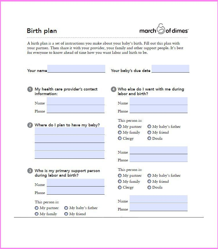 Birth Plan Templates | Modern resume template ideas