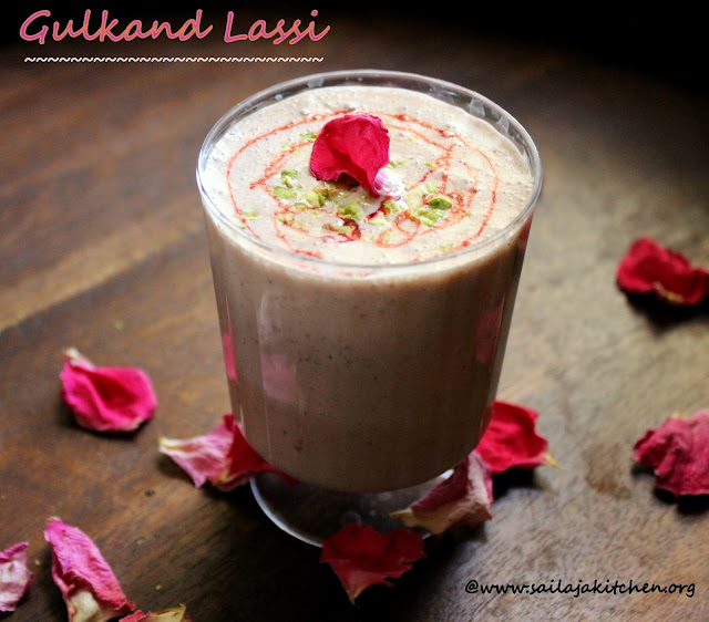 images of Gulkand Lassi / Gulkand Lassi Recipe / Dried Rose Petals Lassi - Summer Drinks