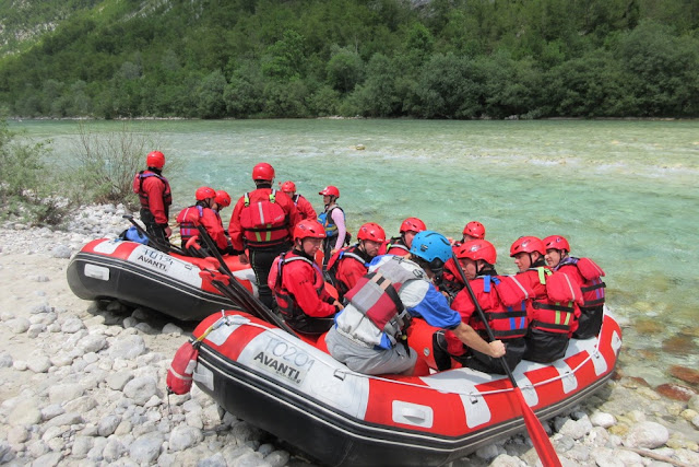 Preparing to head onto the Emerald (Soca) River, Slovenia