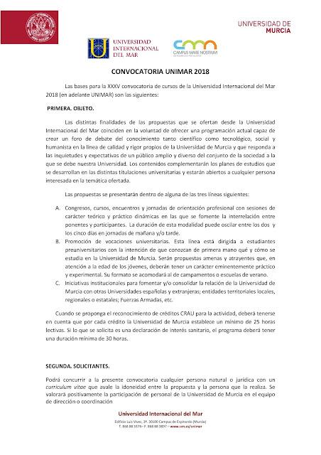 Convocatoria UNIMAR 2018.