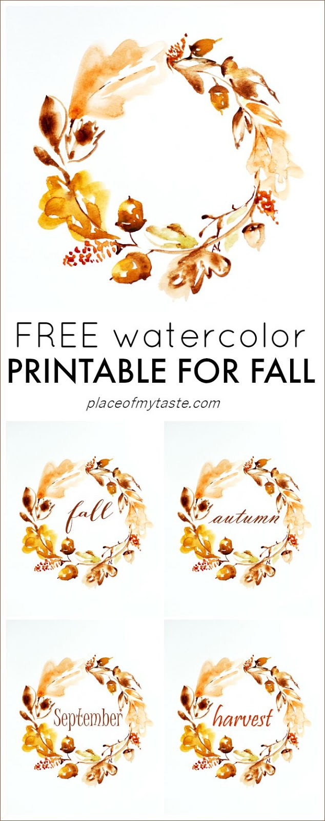 Free watercolor fall wreath printable