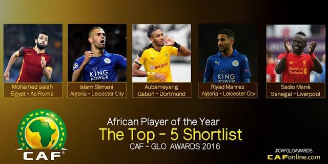 """""""الكاف"""" تعلن عن قائمة 5 لاعبين مرشحين للفوز بالكرة الذهبية الافريقية"""