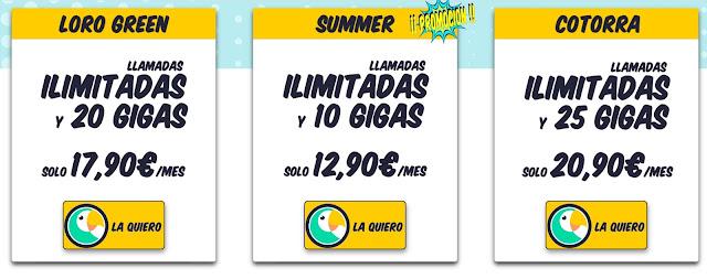 Tarifas Loro Green, Summer y Cotorra de Dígame!