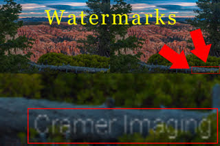 Cramer Imaging's illustration of what watermarks on photographs are using a landscape photo as an example