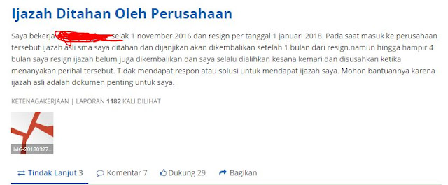 Salah satu laporan yang diajukan ke lapor.go.id mengenai ijazah ditahan perusahaan