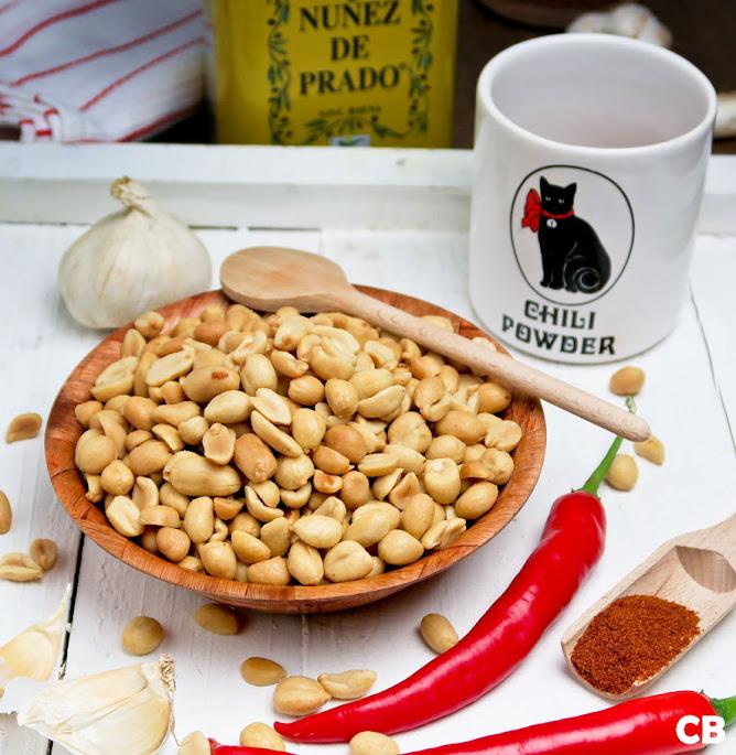 De ingrediënten voor mijn Mexicaanse pinda's staan klaar