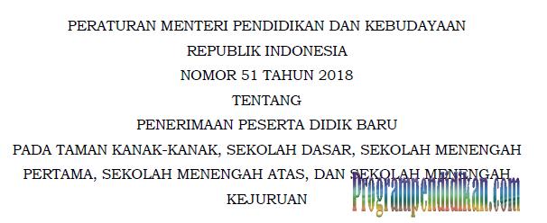 Permendikbud Nomor 51 Tahun 2018