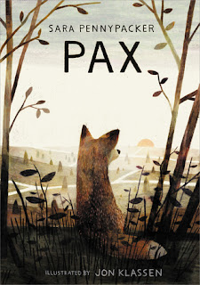 Pax book cover, fox staring out over a landscape