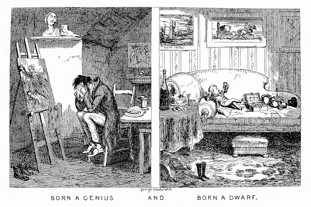 George Cruikshank 1847 cartoon, born a genius and born a dwarf