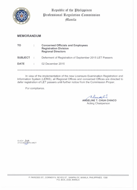 PRC postponed the registration of September 2015 LET passers